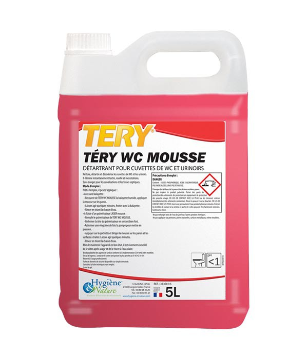 Détartrant WC Mousse - TERY - HYGIENE & NATURE - 5L